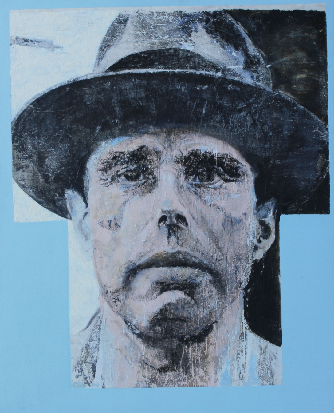 Morphing – Beuys and the Homo sacer. Painting on wood with glue and chalk, paper, acrylic and oil paints. Size (cm) 100 x 80